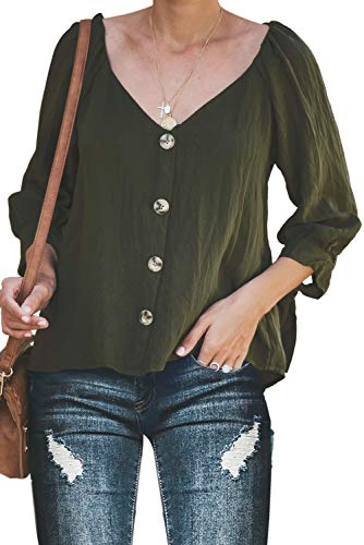 BLENCOT Womens Ladies Sexy V Neck Button Down Blouses Long Sleeve Tops Basic Solid Cotton Blouses Shirts Green S (Cotton V-neck Blouse)