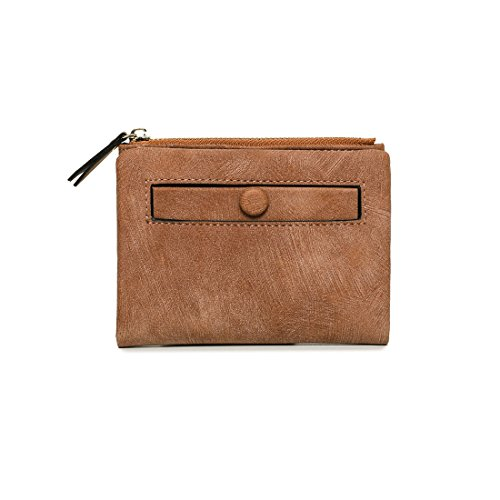 (Women's Rfid Small Bifold Leather Wallet Ladies Mini Zipper Coin Purse id card Pocket,Slim Compact Thin (Brown2))