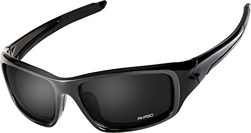 AKASO Polarized Sports Sunglasses, Full PC Frame, UV Protective, Stylish, Lightweight, Unisex for Men and Women, Black