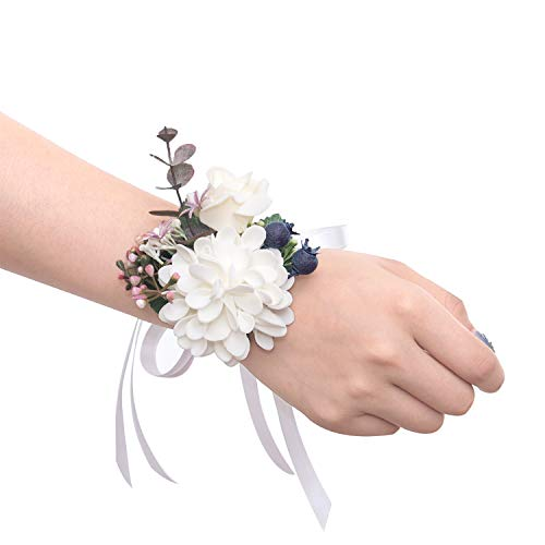 Ling's moment Wrist Corsages Hand Flower for Bride Wedding Porm Party Decor Pack of 2 ()