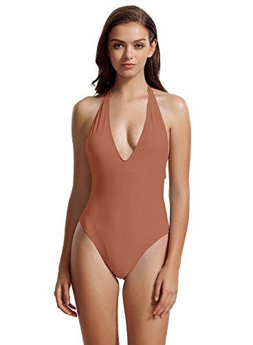 zeraca Women's Plus Size Deep V Neckline One Piece Swimsuit Bathing Suit (XL18, Kona - Kona Swimwear