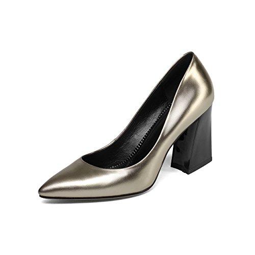 JIEEME Ladies Sexy Block Heels Genuine Leather Pointed Toe Black High Heels Party Women Court champagne 2
