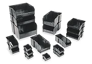 Quantum QUS230 Plastic Storage Stacking Ultra Bin, 10-Inch by 5-Inch by 5-Inch, Black Conductive, Case of 12