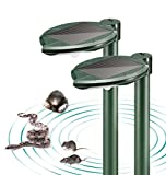 Solar Mole and Snake Repeller with Mini LED Garden Lamp, Pack of 2