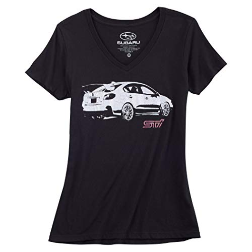 SUBARU Ladies STI V Neck Tee WRX Impreza Official Genuine New Racing Black New T Shirt (Medium)