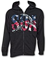 Sons of Anarchy Reaper American Flag Zip-up Hooded Sweat Shirt-Black