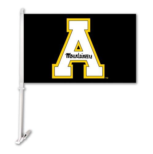 NCAA Appalachian State Mountaineers Black Car Flag with Wall Bracket