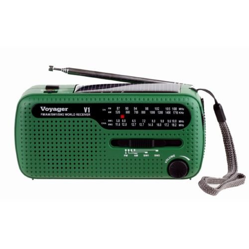 Voyager V1 AM FM Shortwave Emergency Radio with Solar and Hand Crank Green