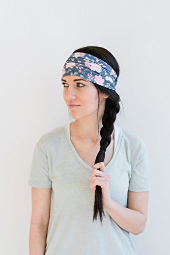 Maven Thread Women's Headband Yoga Running Exercise Sports Workout Athletic Gym Wide Sweat Wicking Stretchy No Slip 2 Pack Set Pink and Navy Floral ENERGY by by Maven Thread (Image #1)