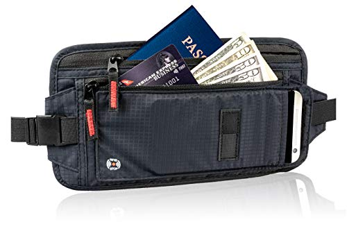 RFID Travel Money Belt - Hidden Holder For Passport - Secret, Safe Waist Wallet