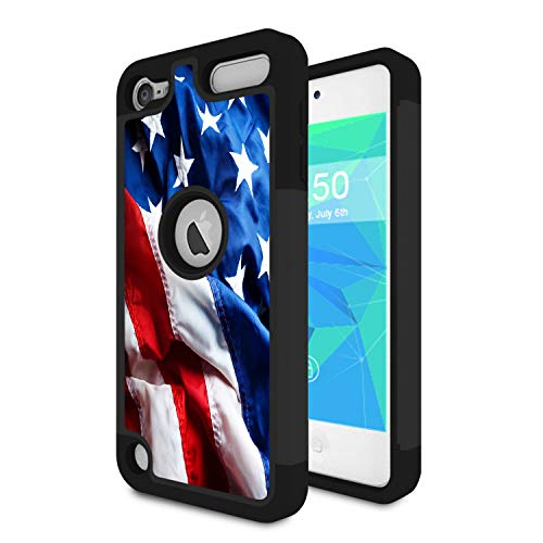 (iPod Touch 6 Case,iPod Touch 5 Case,Spsun Dual Layer Hybrid Hard Protector Cover Anti-Drop TPU Bumper for Apple iPod Touch 6th/5th Generation,American Gadsden Flag)