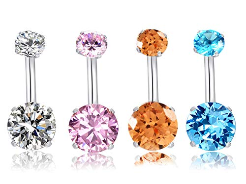MO SI YI 14G Surgical Steel Belly Button Rings Round Cubic Zirconia Navel Barbell Stud Sexy Body Piercing ((4 Pcs Clear+Pink+Light Blue+Champaine))