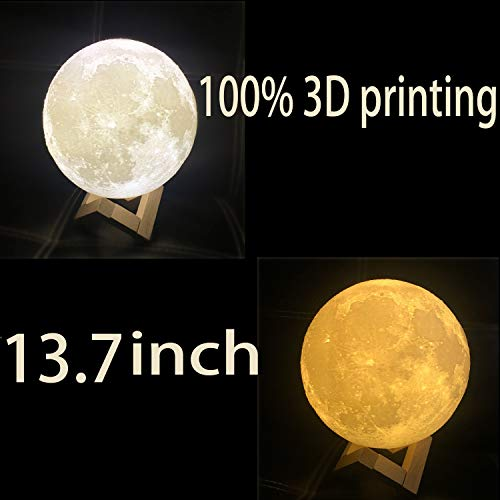 13.7 inch Large Moon Lamp,3D Moon Lamp, 100% 3D Printed Big Moon Lamp,16 Colors Moon Lamp with Remote Control Decorative Moon Light. by SUPER3DMALL (Image #1)