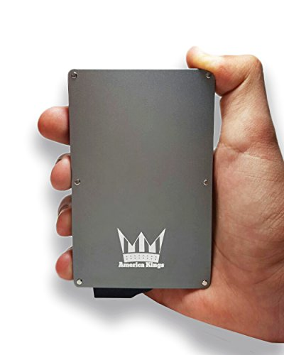 RFID Blocking Credit Card Holder By America Kings, Aluminum Slim Wallet, Credit Card Holder for All Kind Of Cards, With One Click All 6 Cards Slide Out, In A Nice Gift Box, (Space Gray) (Metal Wallet As Seen On Tv)