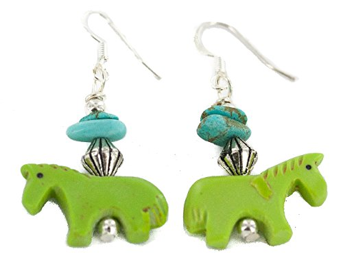 $80Tag Fetish Horse Silver Hooks Certified Navajo Turquoise Dangle Earrings 18286-1 Made By Loma Siiva