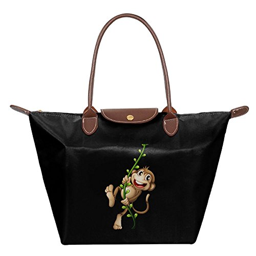 Folding Dumpling Bag Top Handle Handbag Women's Satchel Shoulder Shopping Gripesack Naughty Monkey Nylon (Sock Monkey Halloween Makeup)