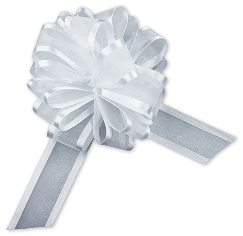 Satin Edge Pull Bow - Bows - White Sheer Satin Edge Pull Bows, 18 Loops, 1 1/2