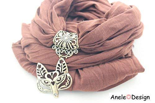 Écharpe bijou femme, renard doré, marron bronze, cadeau femme, fox