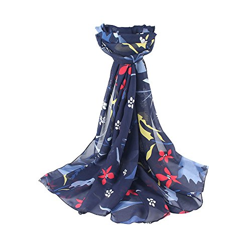 Price comparison product image Scarf For Women ClearanceFarjing Women Summer Sunscreen Printed Soft Chiffon Shawl Scarf Free SizeNavy )