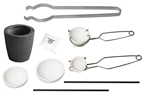 d Silver Set Kit Ceramic Foundry Crucible Tongs Flux 17A ()