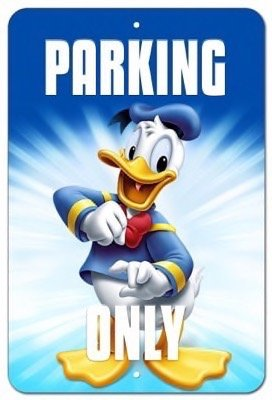 Disney Donald Duck Christmas Vanity Parking Only Street Sign 8x12
