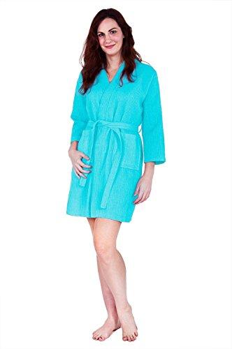 (Lightweight Knee-Length Waffle Kimono Robe, Bridesmaids and Spa Bathrobe (One Size - Large,)