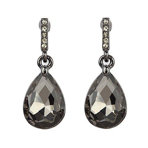 Rosemarie Collections Women's Teardrop Dangle Drop Earrings (Hematite Tone/Black ()