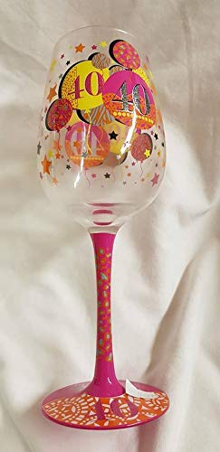 Copa de vino con diseño de globo para 40 cumpleaños, algo ...