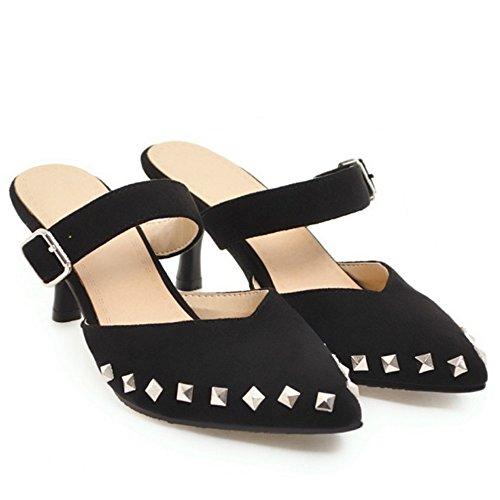 Punta Estate Black TAOFFEN Moda Sandali Donna Stiletto Chiusa Scarpe Pantofole 0qFqPXw