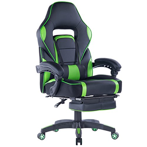 Giantex Gaming Chair Racing Chair Ergonomic High-Back with Footrest and Lumbar Support Adjusting Swivel Executive Office Desk Gaming Chair (Green) Giantex