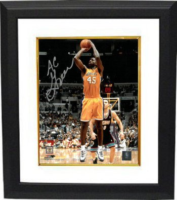 1419ca839c9 AC Green Signed Autograph Los Angeles Lakers 8x10 Photo Deluxe Custom  Framed yellow jersey - Authentic