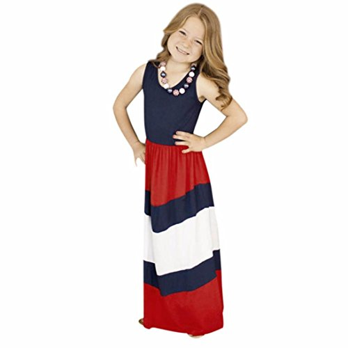 [Mosunx(TM) Mother&Daughter Stripe Stitching Dress Casual Family Clothes (Girl size:3T, Red)] (Mother And Infant Daughter Costumes)