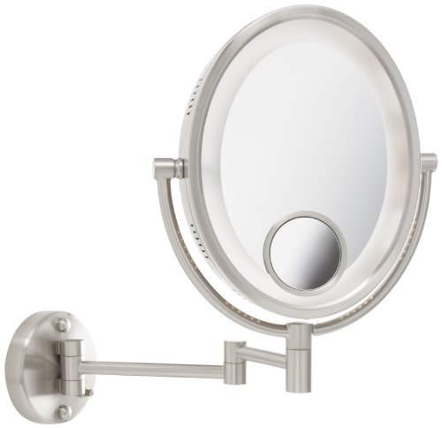 Jerdon HL9515N 8-Inch Lighted Wall Mount Oval Makeup Mirror with 10x and 15x Magnification, Nickel Finish by Jerdon