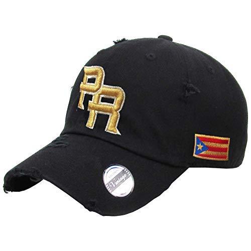 (Puerto Rico Vintage Black Hats and Metallic Gold Logo)