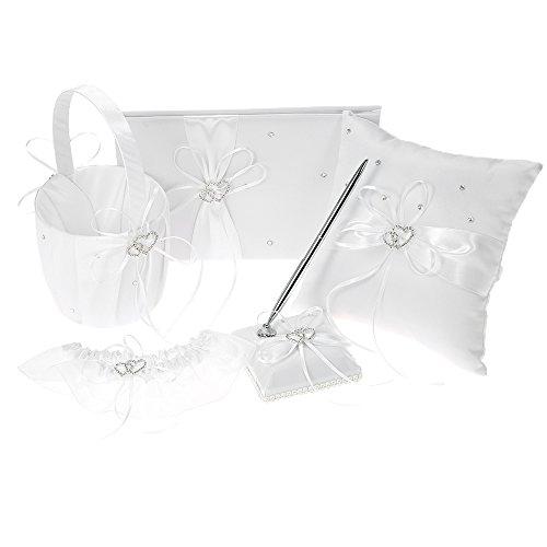 Decdeal 5pcs/Set Wedding Supplies Flower Basket + Ring Pillow + Guest Book + Pen Holder + Bride Garter Set