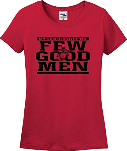 My Son Is One Of The Few Good Men Marines Mom Ladies T-Shirt (S-3X) (Ladies X-Large, Red)