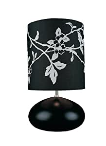 Lite Source LS-21036BLK Hayden Table Lamp, Black with Black Printed Fabric Shade