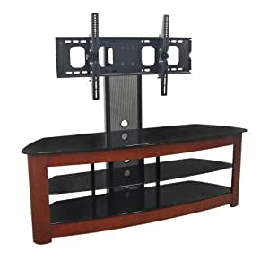 Walker Edison 60-Inch 4-in-1 TV Stand with Removable Mount, Cherry/Black