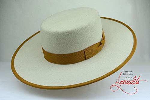 The Cosmopolitan - Wool Felt Flat Crown Bolero Hat - Wide Brim - Men -