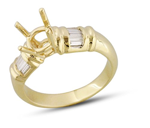 Womens Channel Set Baguette Bridal Semi Mount 14k Yellow Gold .24 cttw Size 7.5