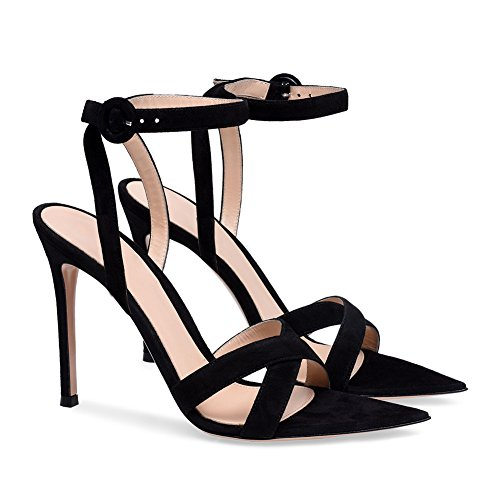 ZPL Womens Ladies High Heel Sandals Strappy Stiletto Ankle Strap Peep Toe Shoes EU44/UK12 kaO2hJISy