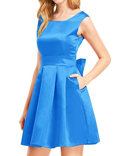 Bess Bow Prom s Women Pockets Ocean Backless Dress Bridal Short Homecoming Blue Party rOXUqxZrw