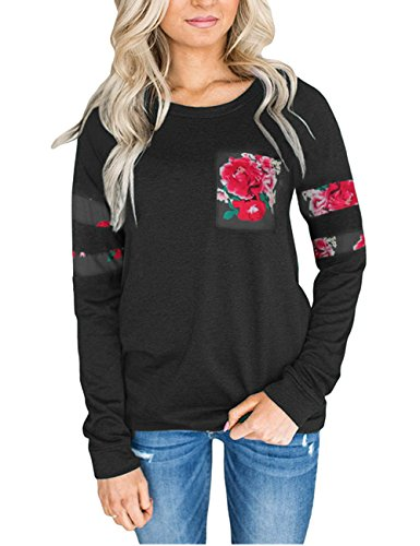 ORQ Women's Long Sleeve Crewneck Floral Pocket Hoodie Sweatshirt Casual Pullover - Day Shipping 2 Free