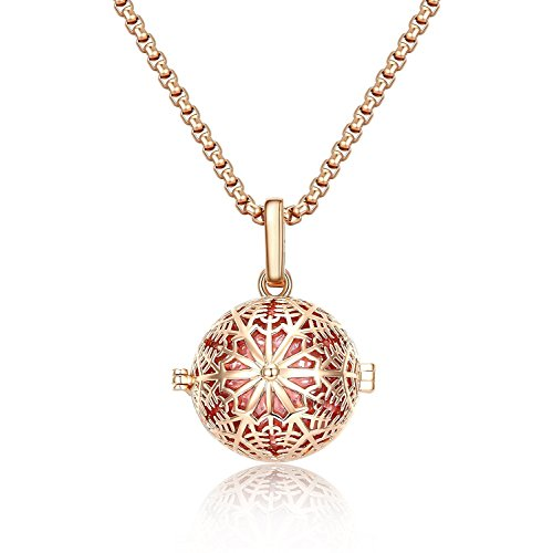 Snowflake Coloured Glaze Aromatherapy Essential Oil Diffuser Pendant/Locket Necklace,Romantic Rose Gold,with 19