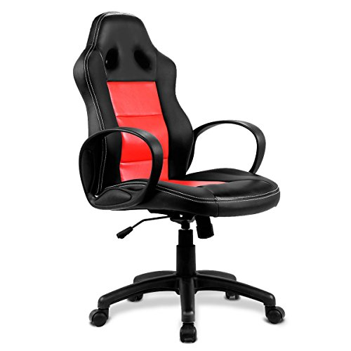 Giantex Office Chair High Back Race Car Style Bucket Seat Desk Gaming Chair (Red)