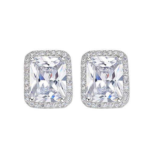 (EleQueen 925 Sterling Silver Full Cubic Zirconia Emerald-cut Bridal Halo Stud Earrings)