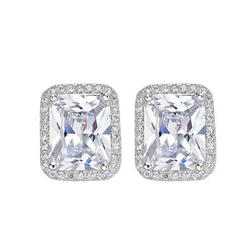 Radiant Cut Earrings - EleQueen 925 Sterling Silver Full Cubic Zirconia Emerald-cut Bridal Halo Stud Earrings