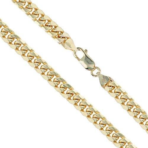 (10k Yellow Gold-Hollow Curb Miami Cuban Link Chain 6mm Bracelet 9