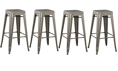 BTEXPERT 4-Pack 30″ Solid Steel Stacking Industrial Distressed Rustic Metal Tabouret Dining room Modern Steel BarStool (Set of 4 Bar Stool)