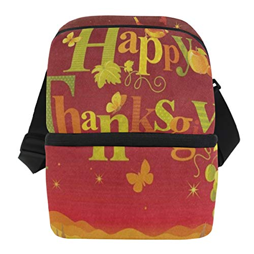 Lunch Bag Autumn Harvest Pumpkin Bird Thanksgiving Portable Cooler Bag Womens Leakproof Grocery Organizer Zipper Tote Bags for Picnic -